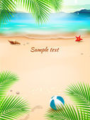 Summer beach background, seascape, sand and wave. Vector Illustration — Stock Vector