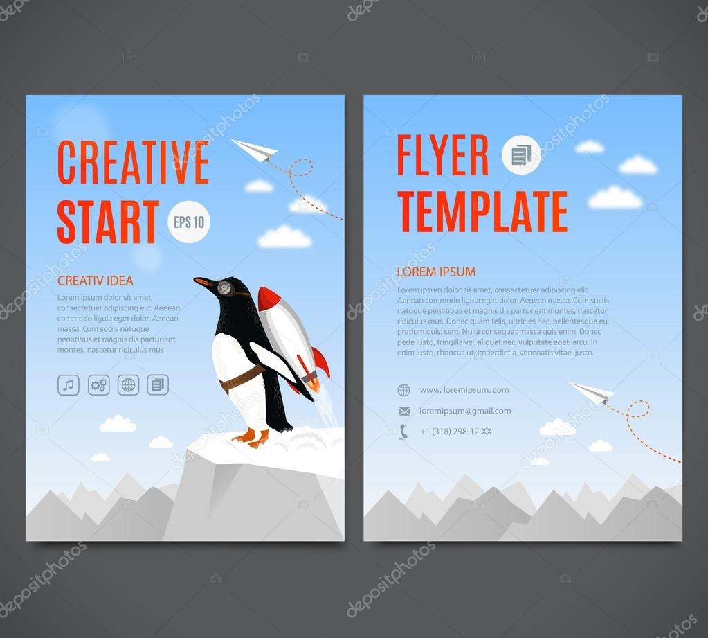 vector template design flyer brochure cover page creative penguin begins to take off the help of rocket creative start and creative idea template design flyer brochure cover page vector by oasis15