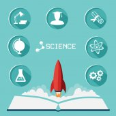 Science icon set. Flat icon vector illustration collection with long shadow — Stock Vector