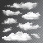Set of transparent realistic clouds. Vector illustration — Stock Vector