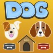 Dog, kennel, bowl, bone, set, vector illustration — Vecteur #80518130