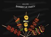 Colorful vector illustration of a BBQ party on the blackboard — Stock Vector