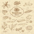 Set of spices and herbs cuisines Pakistan on old paper in vintage style. Vector — Stock Vector #76378939