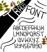 Hand drawn vector alphabet with numbers in black and white style similar to the marks. Vector — ストックベクタ