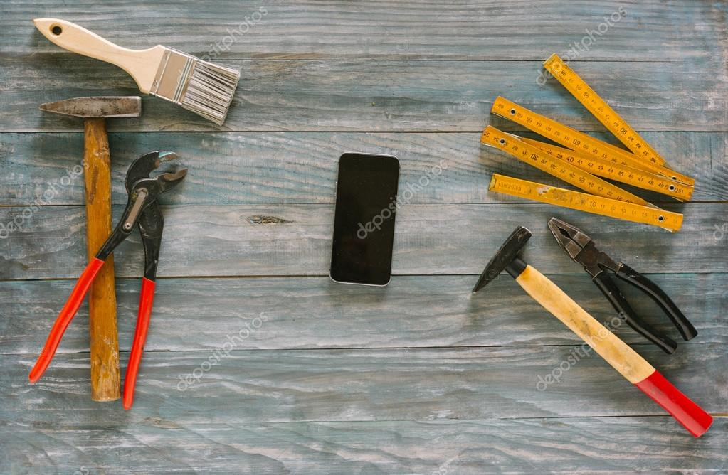 Do it yourself home remodeling and renovation concept  work tabl   Stock  Image. Do it yourself home remodeling and renovation concept  work tabl