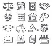 Law line icons — Stock Vector
