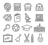 School and Education Line Icons — Stock Vector