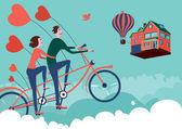 Uomo e donna sulla bicicletta di cielo — Vettoriale Stock