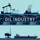 Oil production on land and at sea — Stock Vector