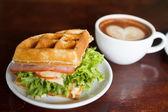 Waffles, bacon filling — Stock Photo