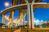 Twilight under view panorama Bhumibol highway Bridge — Stock Photo