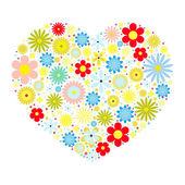 Coração de flores — Vetor de Stock