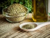 Oregano spices and olive oil from greece — Stock Photo