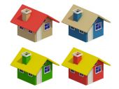 Set of four houses with color changes — Stock Photo