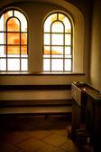Church window candle — Stock Photo