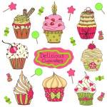 Cupcake doodle set — Stock Vector #74660553