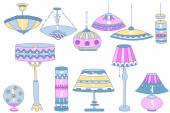 Lamps doodles — Wektor stockowy