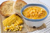 Corn chowder, corn on the background. — Stock Photo