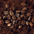 Постер, плакат: Coffee beans on coffee grounds