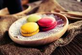 Macaroon dessert served with coffee as afternoon snacks. — Stock Photo