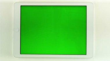 使用 Tablet Pc 与绿屏 — 图库视频影像