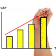 Human hand writing up trend line over bar chart graph of profit and time on pure white background. — Stock Photo #75829673