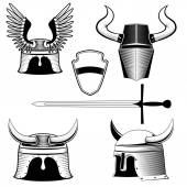 Knight's helmet, shield and sword — Stock Vector