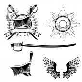 Shako Hussar, badge, sword — Stock Vector