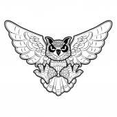 Owl in vector — Stock Vector