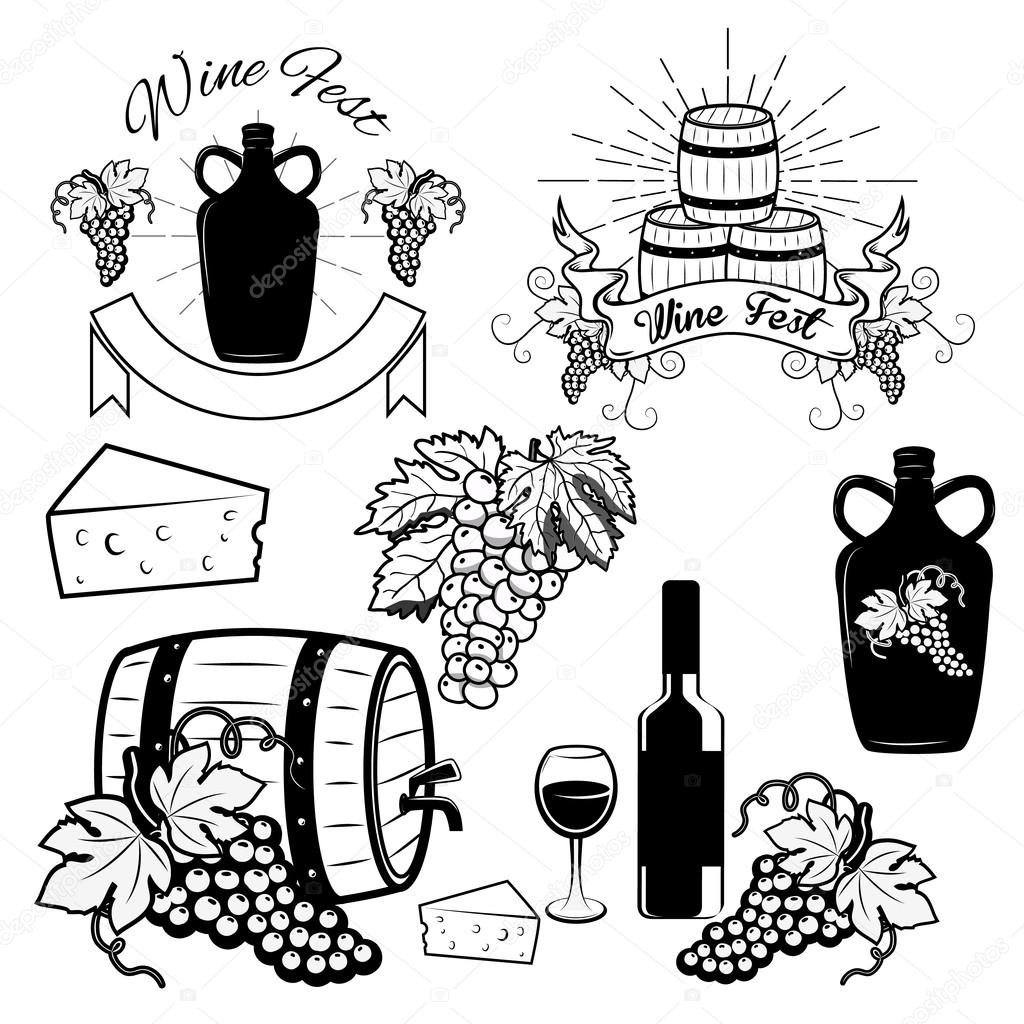 wine labels and logos vector illustration � stock vector