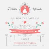 Süs eşyaları ve dekoratif öğeler düğün ayarla — Stok Vektör