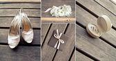 Bridal accessories, collage — Stock Photo