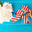American patriotic cookies with white peony — Stock Photo #75153493