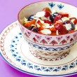 Breakfast cottage cheese with yogurt fruits and nuts — Stock Photo #76153167