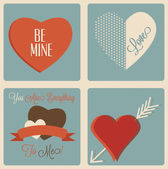 Valentine's Day Cards, retro vintage styled  hearts — Stock Vector