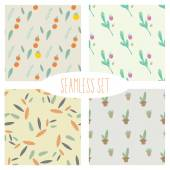 Set of Seamless Hand Drawn Patterns, Doodle  Pattern — Stock Vector