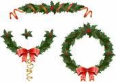 クリスマスのヒイラギの花輪 — ストックベクタ