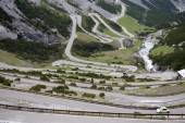 The Stelvio Pass, mountain pass in northern Italy, at an elevati — Photo