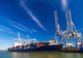 Large container vessel unloaded in Port of Rotterdam — Stock Photo