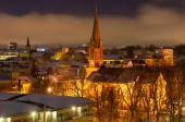 Night view of Oslo, St. James Church of Culture in background — Stock Photo