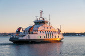 Ferry cruising at dusk in Oslo fjord, Norway — Stock Photo