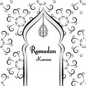 Black and white Ramadan greetings background. Ramadan Kareem means. Mosque. Vector illustration — Vetor de Stock