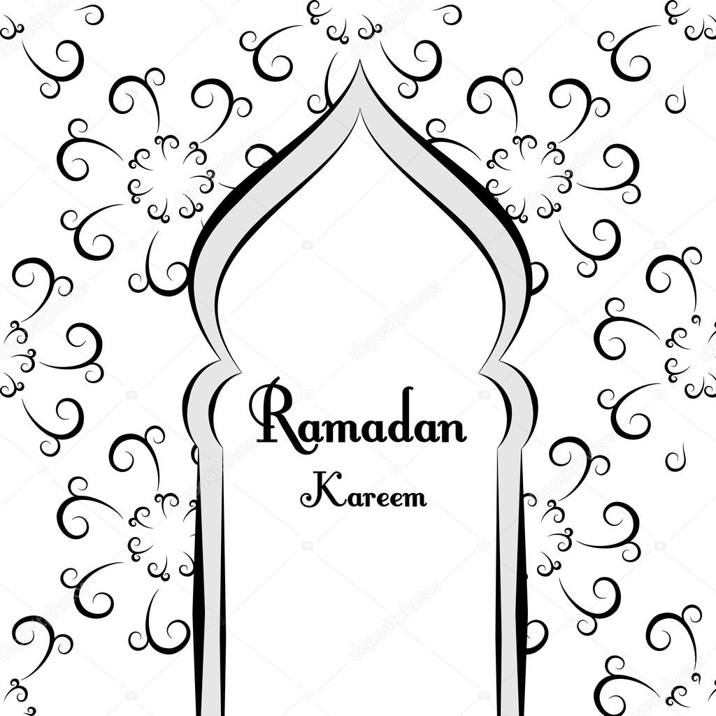 Black and white ramadan greetings background ramadan kareem means mosque vector illustration - Black and wait ...