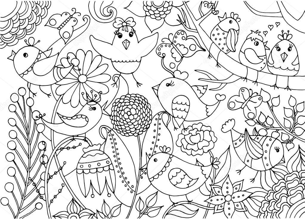 Pjaros Y Flores Para Colorear Pgina Archivo Imgenes Vectoriales C Dina Asileva 112291160