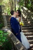 Wedding couple are kissing — Stockfoto