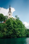 Island on the lake Bled — Stock Photo