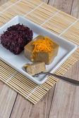 Thai Dessert : Sticky rice with egg steamed custard — Stock Photo
