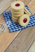 Homemade cookies filled with cranberry jam — Stock Photo