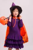 Little Girl in Witch Costume on White / Little Girl in Witch Costume / Little Girl in Witch Costume, Studio Shot — Stock Photo