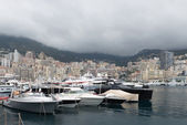 Yachts lining the harbour in Monaco — Stock Photo